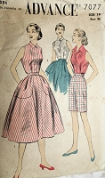 1950s  FAB Weekend Wardrobe Pattern ADVANCE 7077 Three Pc Play Separates, Shirt Blouse,Full Skirt and High Waist Bermuda Shorts Bust 36 Vintage Sewing Pattern