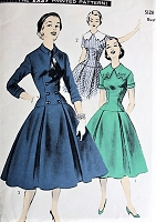 1950s CHARMING Drop-Waist Dress with Collar Advance 7744 Vintage Sewing Pattern Bust 30