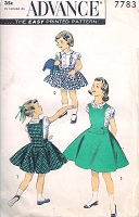 1950s CUTE Little Girls Circle Suspender Skirt, Puff Sleeve Blouse and Vest Jerkin Pattern ADVANCE 7783  Sweet Style for School or Parties Size 4 Vintage Sewing Pattern