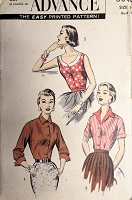 1950s FABULOUS Set of Blouses Pattern ADVANCE 8040 Three Great Styles Bust 32 Vintage Sewing Pattern