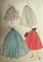 1950s DREAMY Full Skirt Pattern ADVANCE 8054 Day or Evening Length Beautiful Design Waist 26 Vintage Sewing Pattern
