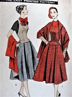 1950s STYLISH Halter Weskit, Skirt and Stole Pattern ADVANCE 8113 Daytime or Evening Bust 36 Vintage Sewing Pattern