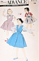 1950s CUTE Little Girls Jumper Dress and Blouse Pattern ADVANCE 8222 Two Sweet Styles Size 8 Childrens Vintage Sewing Pattern FACTORY FOLDED