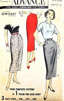 1950s SLEEK Slim Skirt Pattern ADVANCE 8286 Two Style Versions Day or After 5 Skirts Waist 25 Sew Easy Vintage Sewing Pattern