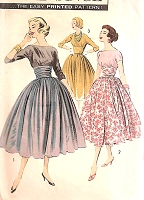 50s DREAMY Evening Cocktail Party Dress and Shirred Cummerbund Pattern ADVANCE 8345  Full Skirt,Bateau Neckline, V Back Bust 34 Vintage Sewing Pattern FACTORY FOLDED