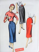 1950s CLASSY Slim Skirt ADVANCE 8405  Figure Flattering Design Waist 24 Sew Easy Vintage Sewing Pattern FACTORY FOLDED