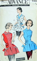1950s PRETTY Cobbler Apron Pattern ADVANCE 8465 Three Style Versions Bust 38-40 Sew Easy Vintage Sewing Pattern FACTORY FOLDED