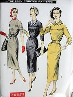 1950s Vintage CLASSY Slim Fitted Dress with Belt Advance 8471 Sewing Pattern Bust 36