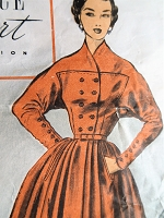 1950s UNIQUE Design Dress Pattern ADVANCE Import Adaptation 84 Full Circular Skirt with Buttoned Bodice Two Versions Bust 34 Vintage Sewing pattern