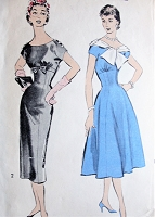 1950s LOVELY Slim or Full Skirt Cocktail Party Dress Pattern ADVANCE 8529 Empire Wait, 2 Necklines, Bust 8529 Vintage Sewing Pattern