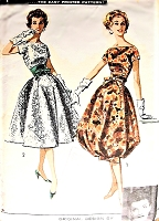 1950s Glam SUZY PERETTE Cocktail Evening Party Dress Pattern Plunging V Back, Bateau Neckline, Full or Bubble Skirt Bust 35 Vintage Sewing Pattern