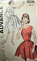 1960s Vintage LOVELY Short Sleeve or Sleeveless Dress with Full Skirt Advance  9336 Sewing Pattern Bust 34