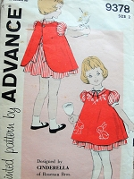 1960s Vintage CHARMING Childs Bow Trimmed Dress with Back Buttoned Pinafore Advance 9378 Sewing Pattern Chest 21