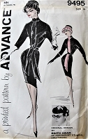 1960s FABULOUS Designer Edith Head Slim Dress and Tie Scarf Pattern ADVANCE 9495 Movie Star Janet Leigh Figure Show Off Slim Dress and Long Tie Day or After 5 Bust 36 Vintage Sewing Pattern FACTORY FOLDED