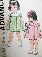 1960s DARLING Little Girls Dress pattern ADVANCE 9803 Sweet Puff Sleeved Dress Size 3 Childrens Vintage Sewing Pattern