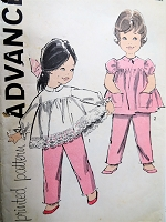 1960s CUTE Toddlers Top and Pants Pattern ADVANCE 9805 Sweet Styles Size 1 Childrens Vintage Sewing Pattern