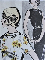 1960s STYLISH Day or Evening Wiggle Dress With Cowl Advance 9823 Bust 36 Vintage Sewing Pattern