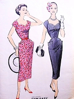 1950s BOMBSHELL Sheath Dress Pattern ADVANCE 8297 Daytime or Cocktail Evening Sweetheart Neck V Back Bust 36 Sew Easy Vintage Sewing Pattern UNCUT