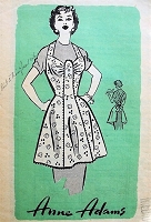 1950s CUTE Full Bib Apron Pattern ANNE ADAMS 4617 Kitchen Day  or Hostess Party Apron Pretty Design Medium Size Vintage Sewing Pattern