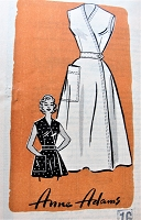 1950s CUTE Wrap Dress or Apron Pattern ANNE ADAMS 4743 Bust 34 Vintage Sewing Pattern