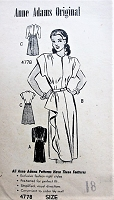 1940s FLIRTY Dress with Draped Skirt Anne Adams 4778 Bust 36 Vintage Sewing Pattern