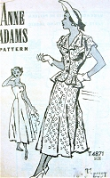 1940s BEAUTIFUL Sun Dress and Peplum Jacket Pattern ANNE ADAMS 4871 Pure Figure Flattery Day or Party Dress Bust 32 Vintage Sewing Pattern