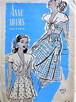 1940s PIN UP Style Beach Wear Pattern ANNE ADAMS 4913 Cute Midriff Top With Collar, Pleated High Waist Shorts, Side Button Skirt Bust 32 Vintage Sewing Pattern