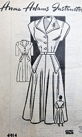 1940s SNAPPY Dress Pattern ANNE ADAMS 4914 Figure Flattering Flared Dress Bust 38 Vintage Sewing Pattern
