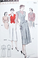 1950s SPORTY Separates Wardrobe Pattern BUTTERICK 5659 Reversible Weskit, Button Back Blouse, 4 Gore Skirt Bust 34 Vintage Sewing Pattern FACTORY FOLDED