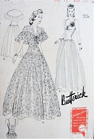 1940s GLAMOROUS Evening Gown and Cape Pattern BUTTERICK 1559 Fitted Long Torso Design, Wide Full Skirt, Ruffled Cape Bust 30 Vintage Sewing Pattern