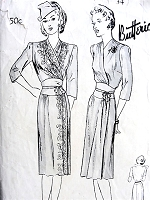 1940s STUNNING Surplice Fitted Midriff Dress Pattern BUTTERICK 2378 Figure Flattering Design Daytime or After 5 Bust 34 Vintage Sewing Pattern