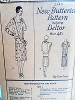 1920s FLAPPER Dress Pattern BUTTERICK 2543 Slip Over Frock, Art Deco Drop Waist Dress Bust 38 Vintage Sewing Pattern