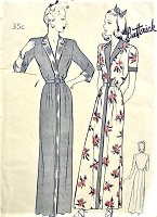 1940s FEMININE HouseCoat, Bath Robe ,Lounging Robe Pattern BUTTERICK 2543 Smart Revers Collar and Band Trimming, Figure Flattering Design Bust 40 Vintage Sewing Pattern FACTORY FOLDED