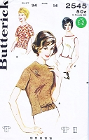 1960s CLASSIC OverBlouse Pattern BUTTERICK 2545 Three Pretty Style Versions Jackie Kennedy Era Bust 32 Vintage Sewing Pattern