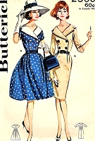 1960s BEAUTIFUL Slim or Full Skirt Dress Pattern BUTTERICK 2560 Flattering Wide Collar , Double Breasted Bodice, Daytime or After 5 Cocktail Dress Bust 36 Vintage Sewing Pattern
