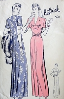 1940s SLEEK Evening Dress with V Neckline Vintage Butterick 2699 Sewing Pattern Bust 32