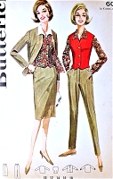 1960s CLASSIC Sportswear Separates Pattern BUTTERICK 2776 Skinny HighWaist Pants, slim Skirt, Vest and Boxy Jacket Bust 36 Vintage Sewing Pattern UNCUT