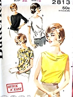 1960s FAB Blouse Pattern BUTTERICK 2813 Four Style Versions Includes Draped Cowl Top or Shell Perfect Under A Suit, Tuck In or Overblouse Bust 31 Quick n Easy Vintage Sewing Pattern