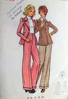 1970s RETRO Suit Pattern BUTTERICK 3023 Fab Fitted Jacket, High Waist Cuffed Pants Bust 34 Vintage Sewing Pattern