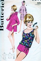 1960s Bathing Suit Beach Wear Pattern BUTTERICK 3077 Blouson Swimsuit and Cover Up Hooded Beach Coat  Bust 31 Vintage Sixties Sewing Pattern