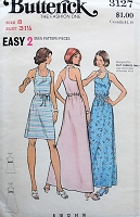 1970s CASUAL Retro Drawstring Dress with U Neckline Butterick 3127 Bust 31 1/2  Vintage Sewing Pattern