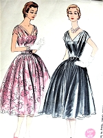 1950s BEAUTIFUL Party Evening Dress Pattern McCALLS 3154 Easy To Sew  Draped Shoulders V Neckline Full Skirted Cocktail Dress Perfect For Sheers Bust 34 Vintage Sewing Pattern