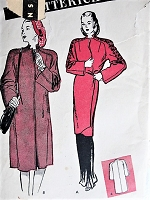 1940s FILM NOIR Style Evening Wrap Coat or Daytime Coat Pattern BUTTERICK 3279 Beautiful Design Details Bust 32 Vintage Sewing Pattern