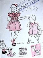 1940s SWEET Little Girls Dress and Smocking Transfer Pattern BUTTERICK 3283 Two Cute Toddlers Dress Styles Size 1 Childrens Vintage Sewing Pattern