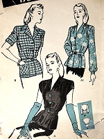 1940s LOVELY Blouse Pattern BUTTERICK 3355 Three Classy Peplum Overblouses Jacket-Blouses Bust 38 Vintage Sewing Pattern