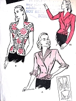 1940s FILM NOIR Style Blouse Pattern BUTTERICK 3357 Three Beautiful Designs Day or Evening Bust 30 Vintage Sewing Pattern