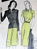Vintage 1940s SMART Dress and Jacket Butterick 3369 Sewing Pattern Bust 38