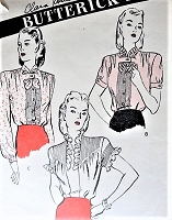 1940s LOVELY Pin Tuck Blouse Pattern BUTTERICK 3371 Two Lovely Styles Butterfly Jabot, Ruffles, Pintucks Day or Evening Blouses Bust 32 Vintage Sewing Pattern