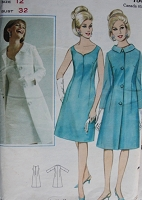 1960s Vintage CLASSIC Princess Seamed Dress and Coat Butterick 3471 Bust 32 Sewing Pattern
