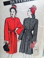 1940s LOVELY Film Noir Coat Pattern BUTTERICK 3504 Two Versions Bust 32 Vintage Sewing Pattern
